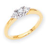 14k Two-tone AA Diamond three stone ring